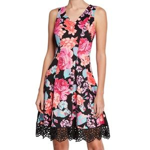 NWT Donna Ricco Floral Fit And Flare Dress $109